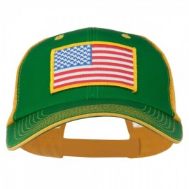 Yellow American Flag Big Size Cotton Twill Mesh Patched Cap