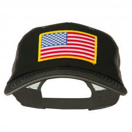 Yellow American Flag Big Size Cotton Twill Mesh Patched Cap - Black Grey