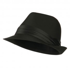 Youth Poly Cotton Fedora Hat - Black