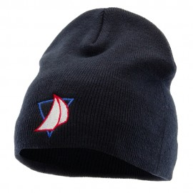 Yacht Racing Embroidered 8 Inch Knitted Short Beanie