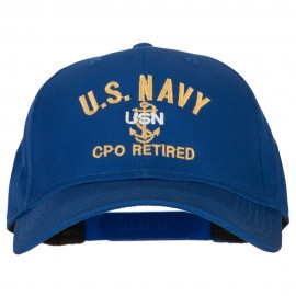 US Navy CPO Retired Military Embroidered Solid Cotton Pro Style Cap
