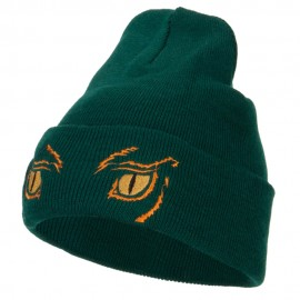 Big Yellow Eyes Embroidered Long Beanie