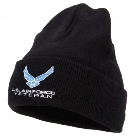 US Air Force Veteran Symbol Embroidered Long Beanie