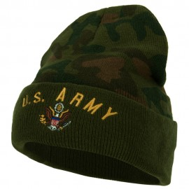 US Army Logo Embroidered Camo Long Beanie - Green