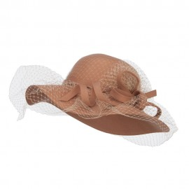 Wool Felt Floppy Hat with Net - Camel