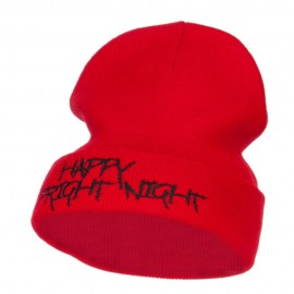 Happy Fright Night Embroidered Long Beanie