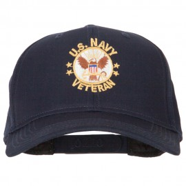 US Navy Veteran Circle Symbol Embroidered Solid Cotton Pro Style Cap