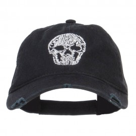 Day of the Dead Skull Embroidered Frayed Cap