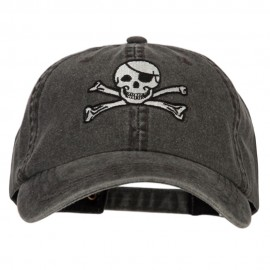 Jolly Roger Skull Embroidered Big Size Washed Cap