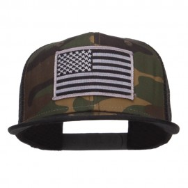 Grey American Flag Patched Camo Mesh Snapback