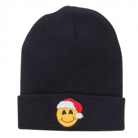 Smiley Face Santa Embroidered Long Beanie