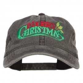 Mistletoe Merry Christmas Embroidered Washed Cap - Black