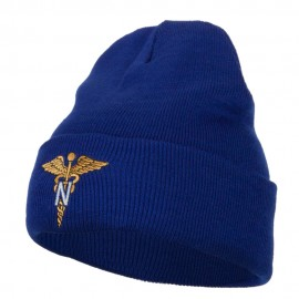 Army Nurse Corps Officer Embroidered Long Knitted Beanie