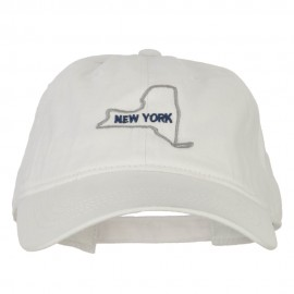 New York with Map Outline Embroidered Washed Cotton Twill Cap