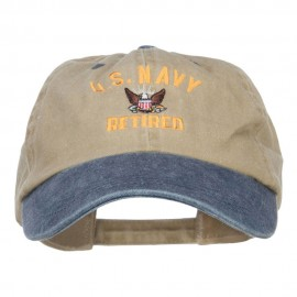 US Navy Retired Military Embroidered Two Tone Cap - Khaki Navy