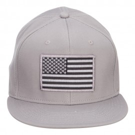 Grey American Flag Patched Flat Snapback Cap