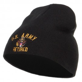 US Army Retired Military Embroidered Short Beanie