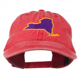 New York State Map Embroidered Cap
