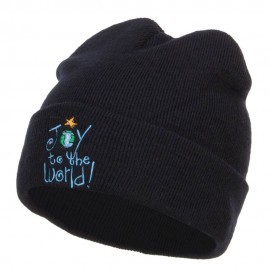 Joy to the World Embroidered Long Beanie