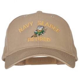 US Navy Seabee Retired Military Embroidered Solid Cotton Pro Style Cap