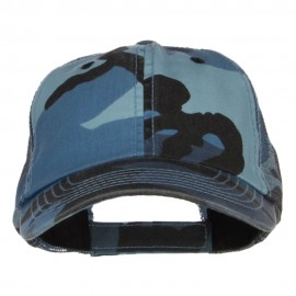 Enzyme Washed Camouflage Trucker Cap - Blue Camo