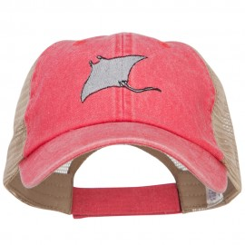 Manta Ray Embroidered Washed Trucker Cap