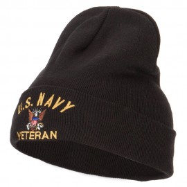 US Navy Veteran Embroidered Big Size Long Beanie