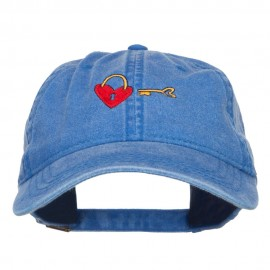 Lock and Key Love Embroidered Washed Cap