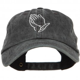 Praying Hands Outline Embroidered Washed Cotton Cap