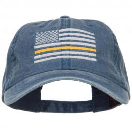 Thin Yellow Line Silver USA Flag Embroidered Washed Cap