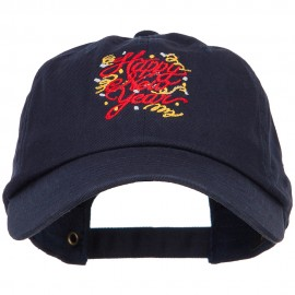 Happy New Year Confetti Embroidered Unstructured Cap - Navy