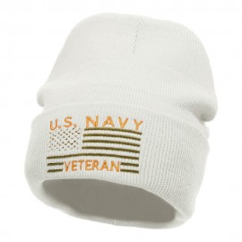 U.S. Navy Veteran Embroidered Long Knitted Beanie
