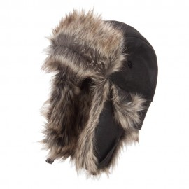 Faux Leather and Fur Trooper Hat - Black