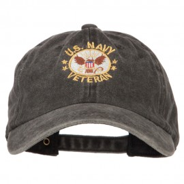 US Navy Veteran Circle Symbol Embroidered Washed Cotton Twill Cap