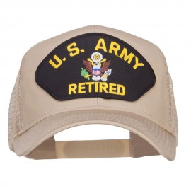 US Army Retired Logo Patched Mesh Cap - Khaki