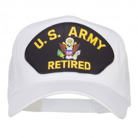 US Army Retired Logo Patched Mesh Cap - White