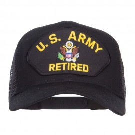 US Army Retired Logo Patched Mesh Cap - Black