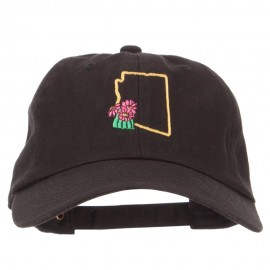 Arizona Saguaro with Map Embroidered Unstructured Washed Cap