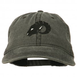 Zodiac Aries Embroidered Washed Cap - Black