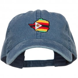 Zimbabwe Map Flag Embroidered Washed Cap