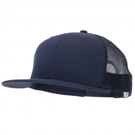 Big Size Cotton Twill Mesh Premium Flat Bill Plastic Snap Cap - Navy