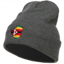Zimbabwe Flag Map Embroidered Long Beanie