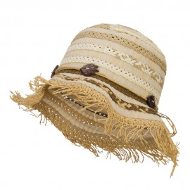 Women's Toyo Braid Striped Straw Bucket Hat
