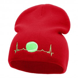 Tennis Ball Pulse Embroidered Short Knitted Beanie