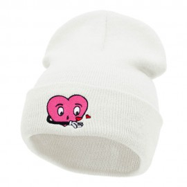 Love Struck Embroidered Long Knitted Beanie
