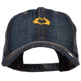 Mini Heart Hands Embroidered Washed Denim Cap