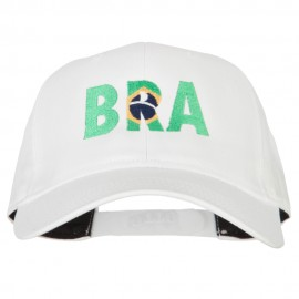 Brazil BRA Flag Embroidered Solid Cotton Pro Style Cap
