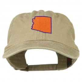 Arizona State Map Embroidered Washed Cotton Cap