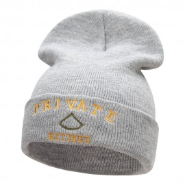 Private Retired Embroidered Long Knitted Beanie