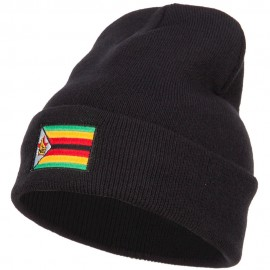 Zimbabwe Flag Embroidered Long Beanie